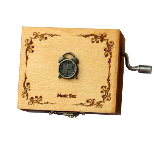 Wooden Music Box Mini Hand Crank Music Box Height Approx 1.3 Inch ?¨Clock??