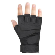 Fingerless Breathable Wear Resistant/Hunting/Climbing/Shooting Gloves BLACK, M