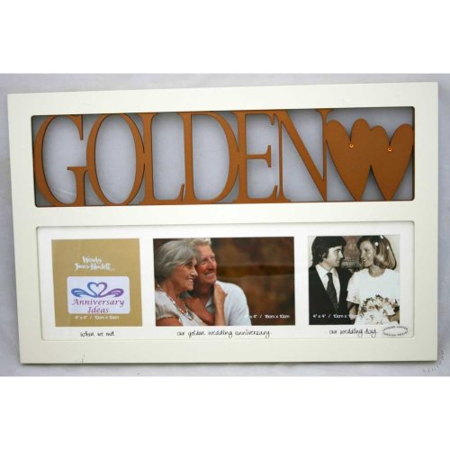 Golden Wedding 50th Anniversary Gift Multi Photo Frame