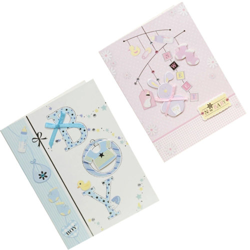 Lovely Baby Thank You Cards Baby Shower Set of 10 3D Cards,Pink&Blue