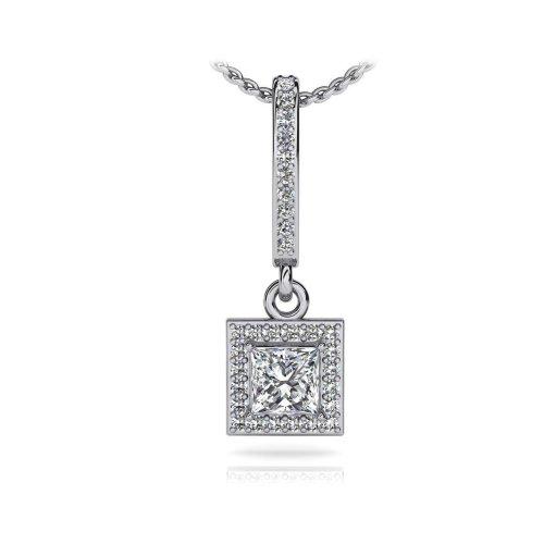 White Gold 14K Sparkling Princess And Round Cut Diamonds Pendant Necklace