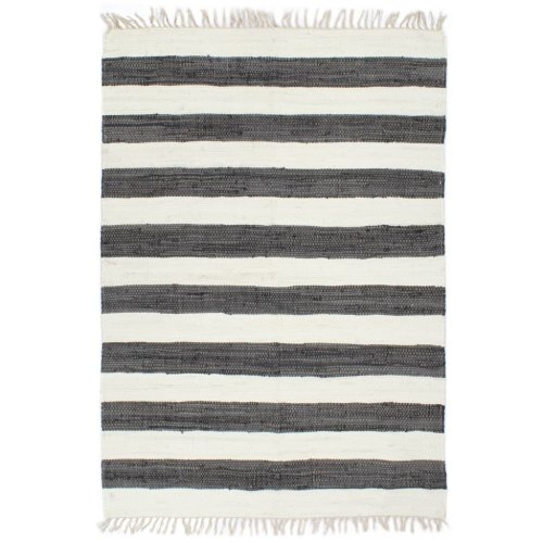 vidaXL Hand-woven Chindi Rug Cotton 160x230cm Anthracite and White Carpet Mat