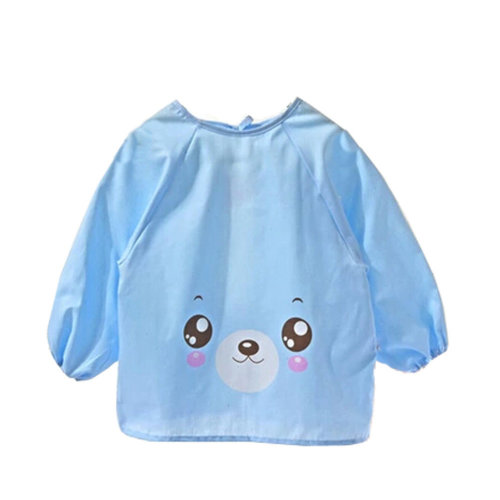Lovely  Smocks Baby Feeding Clothes Baby Bibs Happy Face ,Blue