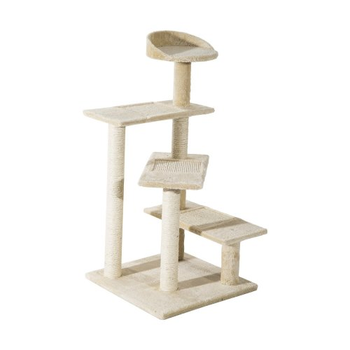 Pawhut Cat Tree Kitten Scratching Sisal Post Climbing Tower Activity Centre Beige