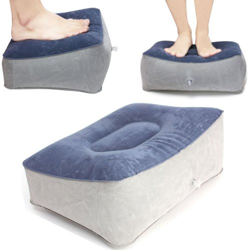 Inflatable Footrest Pillow Travel Home Help Reduce DVT Risk Trips Flight Relax Air Cushion