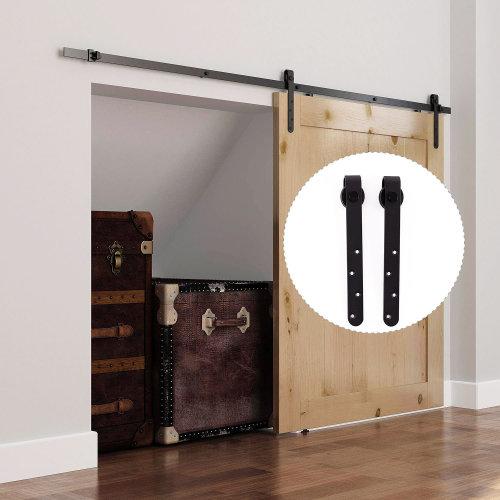 homcom 180cm sliding track steel barn wood door hardware kit cabinet closet hanger on onbuy. Black Bedroom Furniture Sets. Home Design Ideas