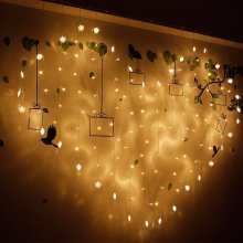2x1m 128 LED Heart Shape Light String Curtain Light Home Decor Celebration Festival Wedding
