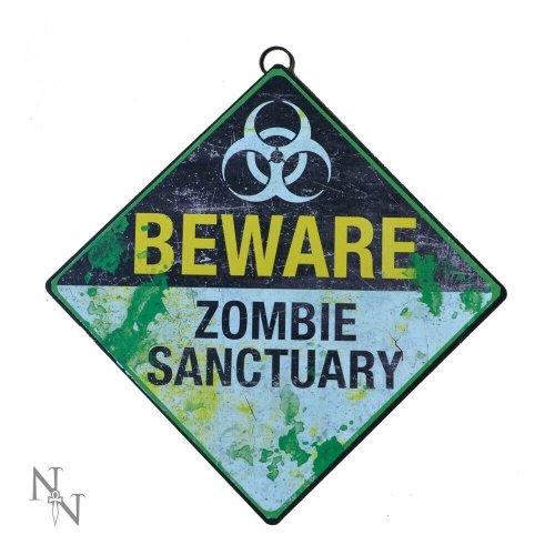 Nemesis Now Beware Zombie Sanctuary Warning Metal Sign Halloween Horror 30cm