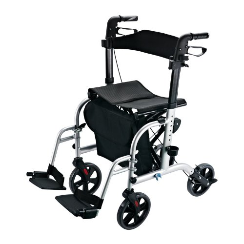 Homcom Transport 2 in 1 Aluminium Walking Rollator to a Wheelchair