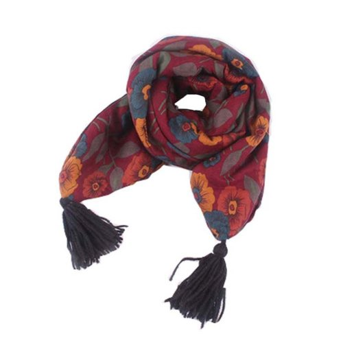 Winter New Baby Scarf Fashion Tassels Scarf, Wine Red