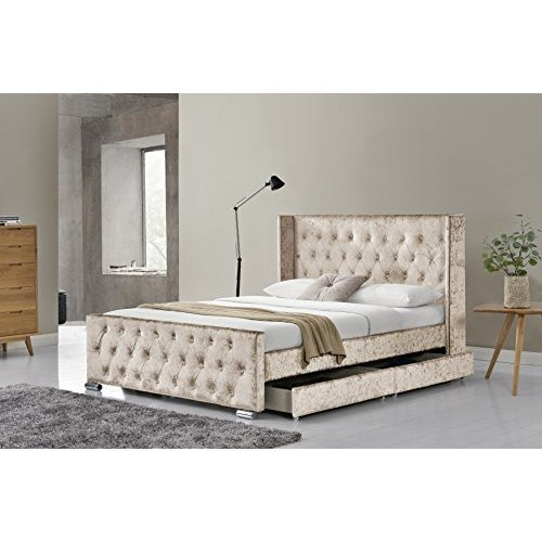 Florida Wingback Diamante Bed Frame 4 Drawers