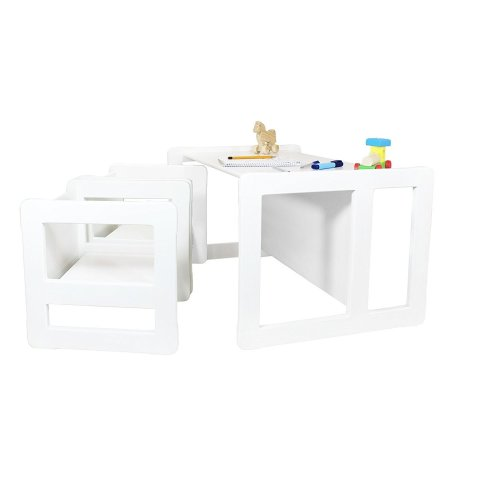 Obique Multifunctional Furniture: 2 Chairs & 1 Large Table, White