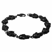 Urban Male Black Stainless Steel Ten Skull Link Bracelet