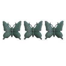 Set of Three Wall Mountable Verdigris Cast Iron Butterfly Garden Ornaments