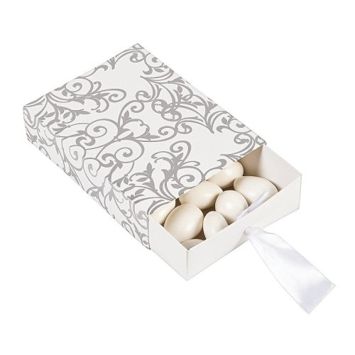12 x Silver Wedding Pull Favor Boxes