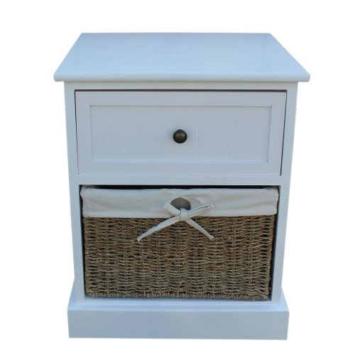 Single Drawer Wooden White Bedside Cabinet with Seagrass Baskets