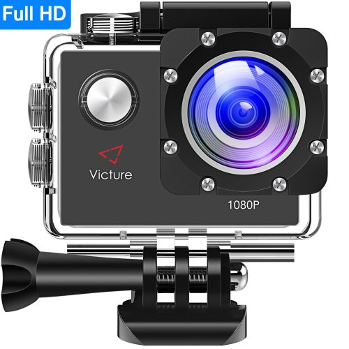 Victure Action Camera 12MP Full HD 1080P Waterproof Action Cam 30M Diving Underwater Camera with 26 Mounting Accessories, 170 Degree Wide Angle,...