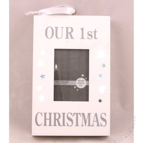 Silver Sparkle Light Up Wall Plaque Photo Frame ~ Our 1st Christmas XM1263