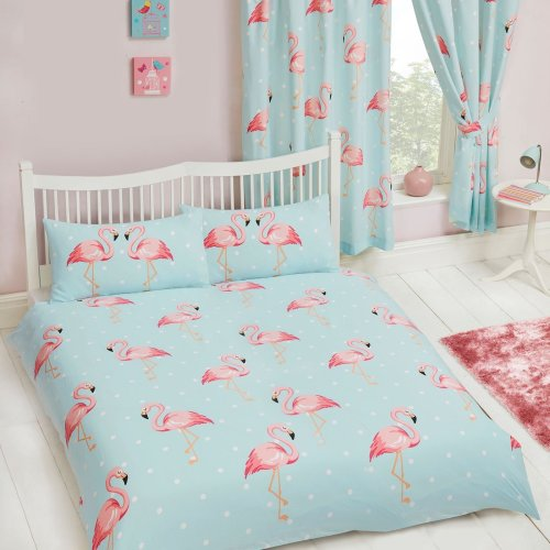 FiFi Flamingo Double Duvet Cover and Pillowcase Set Kids Bedding New