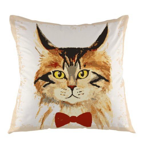 Melyaxu Cat Throw Pillow Cover Big Eye Square Cushion Case for Couch Sofa Home Bedroom Living Room Pillow Case 18 x 18 Inch