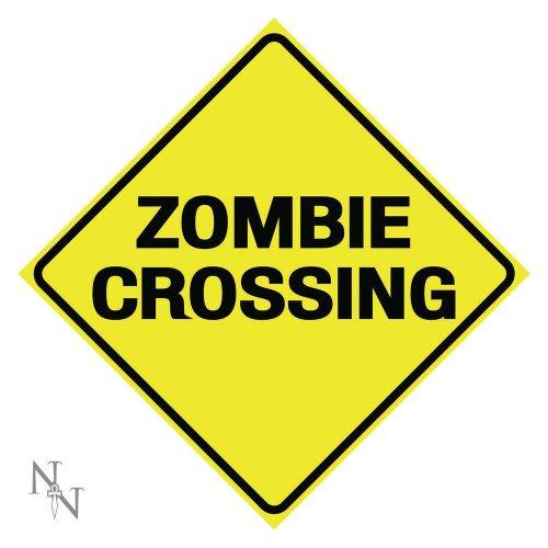 Nemesis Now Zombie Crossing Warning Metal Sign Halloween Haunted Horror 30cm