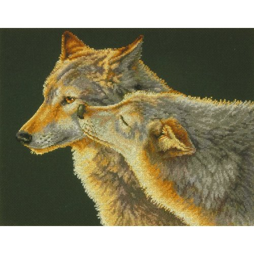 "Dimensions Counted Cross Stitch Kit 14""X11""-Wolf Kis (14 Count)"