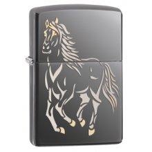 Ice Black Running Horse Zippo Lighter - Windproof Pocket -  running horse black ice windproof lighter pocket