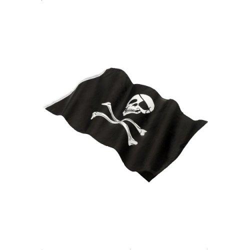 Smiffy's 152 x 91cm Pirate Flag With Large Skull And Crossbones Print - 152x -  pirate flag skull x 152x91cm fancy dress crossbones black