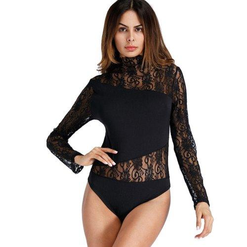 Women Rompers Lace Jumpsuit Autumn Short Pleated Overalls Jumpsuit Female Long Sleeves Playsuit Solid Black Bodysuit Top Q4