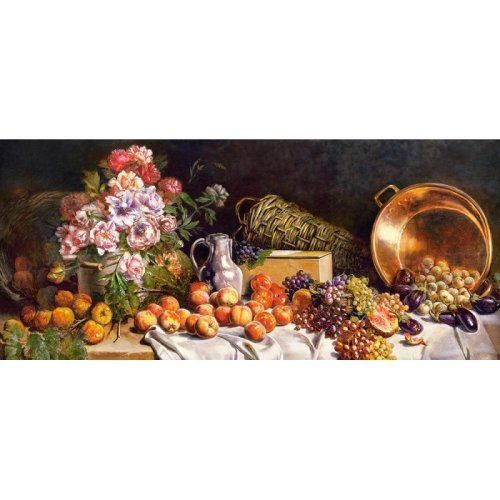 Still life with flowers and fruit on a table