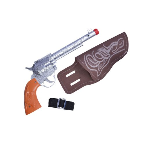 Plastic Cowboy Gun & Brown Holster - Fancy Dress Single Weapon Wild West Toy -  fancy dress cowboy holster single weapon wild west toy party