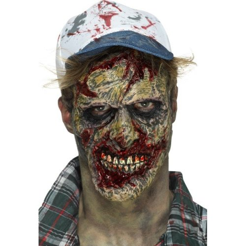 Foam Rubber Zombie Face Prosthetic, Brown, With Adhesive -