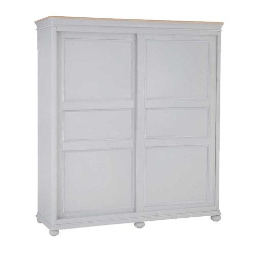 Brooklyn Essential Soft Grey & Oak Furniture Sliding Door Wardrobe