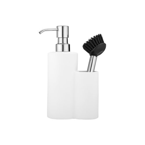 Ladelle Soft Matt White Soap Dispenser and Brush