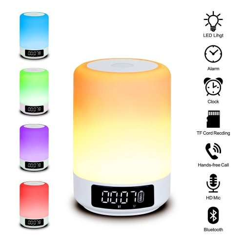 Beawelle Bluetooth Speaker Color Changing Lamp Bedside Lamp