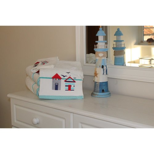 White 100% Cotton Beach Hut Embroidered Towel 550 Gsm