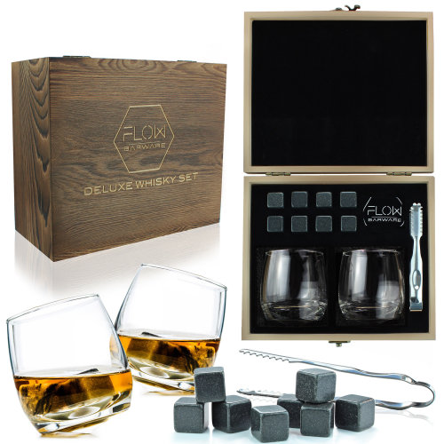 Deluxe Rocking Whisky Glasses & Whiskey Stones Wooden Gift Box Set by FLOW Barware - Novelty Old Fashioned Rocking Glass Tumblers for Scotch, Bourbon Gin & Tonic & Cocktails