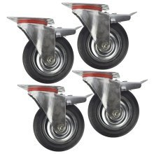 "6"" (150mm) Rubber Swivel With Brake Castor Wheels Trolley Caster (4 Pack) CST011"