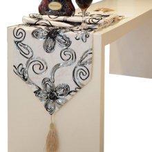 Fashionable Velvet Gilding Folwer Decor Table Runner(12*71inch),White
