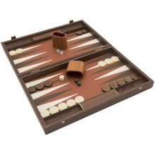 The Manopoulos Luxury Sienna and Walnut Backgammon with Luxury Cups
