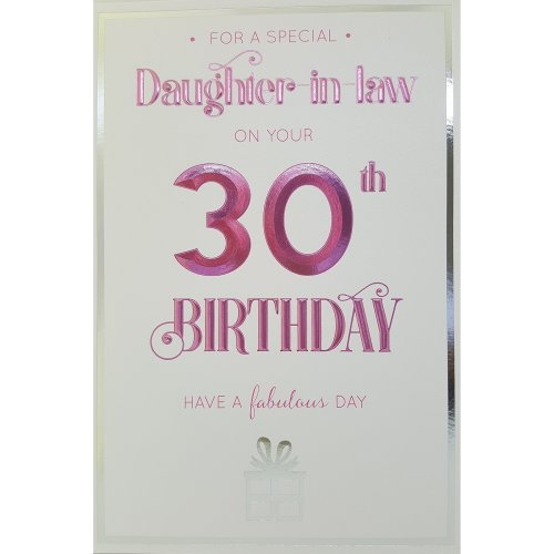 Birthday CardA AEURA For A Special Daughter In Law On Your 30th Card OnBuy