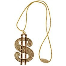 Dollar Medallion/string Cord -  dollar fancy dress necklace 70s gold medallion pimp accessory gangster rapper cord 80s DOLLAR MEDALLION NECKLACE