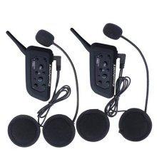 Excelvan 2 Packs BT Motorcycle Helmet Bluetooth 3.0 Intercom Headset 1.2KM Wireless Motorbike Interphone Connect Up to 6 Riders