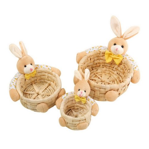 Set Of 3 Rabbit Doll Grass Woven Storage Baskets Keys Cosmetics Socks Containers