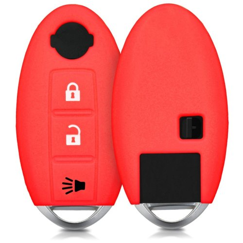kwmobile Nissan Car Key Cover - Silicone Protective Key Fob Cover for Nissan 3 Button Car Key - Red