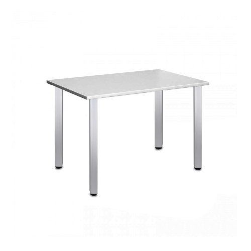 Computer Desk Office Dining Table Workstation Aluminium Legs Square Gray Top 120x80cm