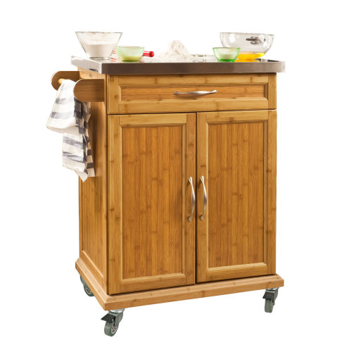 SoBuy® FKW13-N, Bamboo Kitchen Cabinet Storage Trolley with Stainless Steel Top