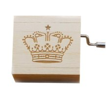 Mini Hand Crank Music Box Wooden Music Box Height Approx 1.5 Inch ?¨Crown??