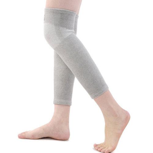 White Striped Blue Hign Elastic Knee Sleeve Support Brace, Gray, M