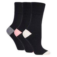 Ladies Plain Black Gentle Grip Socks, RP09